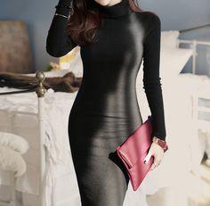 Women Casual Business Knitwear Turtleneck Long Sleeve #Maxi Dress