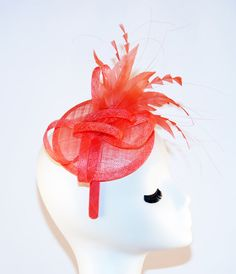 Coral Fascinator Hat - Coral Kentucky Derby Hat - Tea Party Hat - Royal Wedding British Style Hat