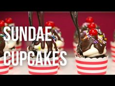 How To Cake…Ice Cream Sundae CUPCAKES! Chocolate cake, buttercream, chocolate sauce, sprinkles, and a cherry on top. Perfect for a retro or diner themed party! #baking #dessert
