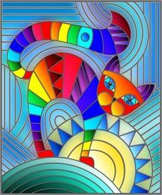Illustration in stained glass style with abstract geometric rainbow cat - Art Painting Stained Glass Patterns, Stained Glass Art, Cat Quilt, Rainbow Art, Fabric Painting, Painting Abstract, Geometric Art, Doodle Art, Cat Art