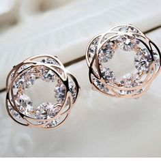 Rose Gold Flower Loop Earrings