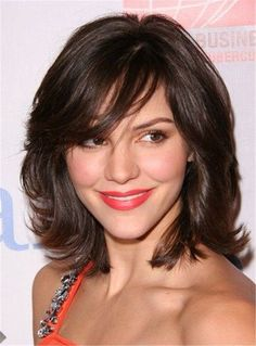 Medium Wavy Cut with Bangs Synthetic Hair Capless wigs 12 Inches