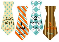 Boy Tie Baby Month Stickers Personalized (Turquoise and Orange)-Includes Newborn and Extra-Large 12 Month Stickers - Monthly Onesie Stickers