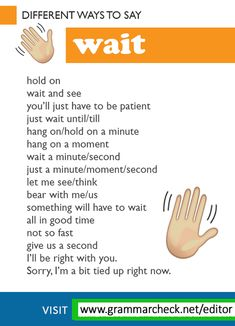 "Different ways to say ""wait!"""