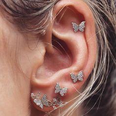 Industrial Barbell 1 RAINBOW Industrial Upper Ear Piercing With Choice of Gemstone - Sterling Silver or Gold Fill Wire Wrap - Custom Jewelry Ideas Ear Jewelry, Cute Jewelry, Body Jewelry, Jewelry Accessories, Jewlery, Cute Ear Piercings, Accesorios Casual, Butterfly Earrings, Butterfly Ring