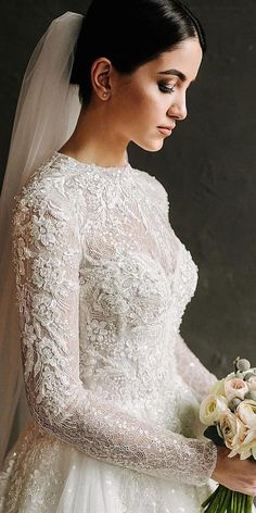 Wedding dresses with lace sleeves will make the most charming bride ever, You will love this delicate lace. Get ready to surprised with stunning wedding. How To Dress For A Wedding, Lace Wedding Dress With Sleeves, Long Sleeve Wedding, Lace Sleeves, Mila Nova Wedding Dress, Dress Lace, Bohemian Wedding Dresses, Dream Wedding Dresses, Bridal Dresses