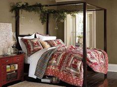 Camera da letto natalizia con baldacchino