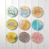 Bespoke 9 Map Circle Wall Art - New
