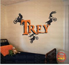 Dirt Bike Name Decal Motorcycle For Motocross - Name vinyl  Wall Lettering for Boys Room - WD0002 by SignJunkies on Etsy