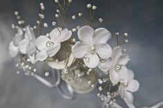 Bridal floral crown,Light ivory bridal hair piece,wedding headband,bridal headpiece,Floral hair vine by svitlanasbridalveils on Etsy