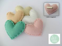Set of 5  corsage hearts - boutonniere - pastel tint - made of felt - with MAGNET. $19.85, via Etsy.