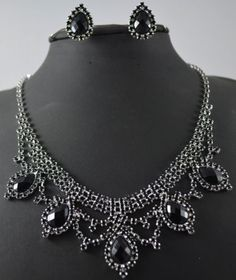 Bridal Wedding Bridesmaid Black Diamonds Crystal Celebrity Jewelry sets 431