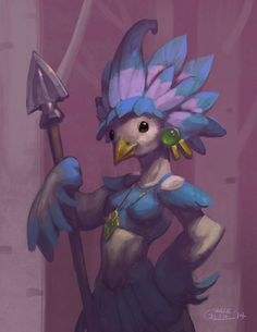Avian Spearwoman by Nightblue-art