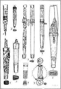 Fig. 34. Noże z resztkami pochwy (1-8) i maczugi (9): 1-7 - Verhnesaltovsky pochówku; 8 - Starosaltovsky pochówku; 9 - Latarnie