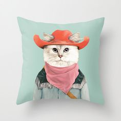 Rodeo Cat Throw Pillow, Decorative Pillow, Animal Pillow, Cat Pillow, Animal Cushion, Cushion Cover, Kids Room Decor by AnimalCrew on Etsy https://www.etsy.com/listing/231806465/rodeo-cat-throw-pillow-decorative-pillow