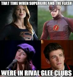 I watched all of glee, knew about Flash and felt bad for the uh, horrid comments, then heard about supergirl, I died Superhero Shows, Superhero Memes, Glee Memes, Dc Memes, Glee Quotes, Fandoms Unite, The Flash Grant Gustin, Grant Gustin Glee, The Flashpoint