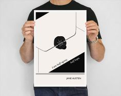 Illustration, Jane Austen Quote Drawing, Fine Art Prints and Art Posters, Black and White Wall Art, Letter Giclee Print