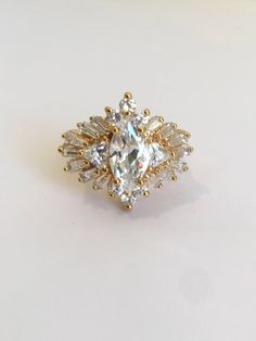 Vintage Gold Vermeil Marquise Ballerina Baguette and Trillion Estate Ring White Stone Cluster Ring Multi Stone Ring Right Hand Ring Marquise Diamond, Diamond Cluster Ring, Halo Diamond, Marquise Cut, Wedding Ring For Her, Wedding Rings, Estate Rings, Gemstone Engagement Rings, Right Hand Rings