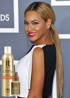 You can recreate this iconic Beyonce hairstyle! Here's how… Part your hair down the middle and slick back into a low ponytail. Use three pumps of Freeze It Abyssinian Gold Shine Drops on the top layer of your hair to create Beyonce's everlasting shine. To ensure your hair stays put all night, finish with Freeze It Mega Freeze Hair Spray.