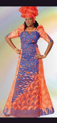 Orange brocade African maxi dress with by NewAfricanDesigns
