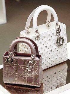 Dior Nude Satin Swarovski Micro White Studded Medium Lady Dior Bag