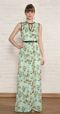 Vestido Longo Flores Frutas Cute Dresses, Casual Dresses, Summer Dresses, Classy Outfits, Beautiful Outfits, Dress Skirt, Dress Up, Dress Outfits, Fashion Dresses