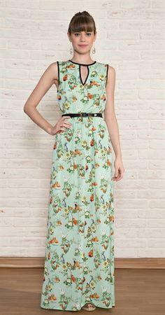 Vestido Longo Flores Frutas Antix