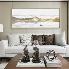 Online Shop Abstract art gold mountains painting on canvas acrylic landscape Wall Art painting Pictures for living room wall decor quadros Living Room Pictures, Wall Art Pictures, Pictures To Paint, Painting Pictures, Bild Gold, Canvas Art Projects, Living Room Canvas, Cheap Paintings, Landscape Walls