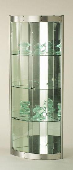 corner glass display cabinet - silver effect. | furniture