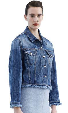 Tram fringe denim jacket in a light vintage bleach wash #AcneStudios #AcneStudiosFW15