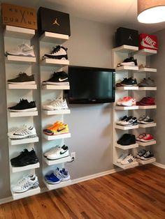 DIY shoe display using IKEA lack shelves storage sneakerhead room Shoe Wall, Shoe Room, Wall Shoe Rack, Wall Hat Racks, Ikea Lack Shelves, Shoe Shelves, Lack Shelf, Hypebeast Room, Diy Shoe Rack