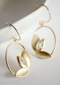 Gold leaf earrings bridal earrings bridal party