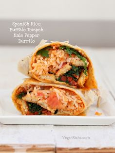 Spanish Rice, Buffalo Tempeh, Kale, Bell Pepper Wraps. Vegan Mofo Recipe - Vegan Richa