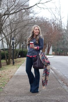 Daytime Holiday Outfit: Sequins, flannel & flares