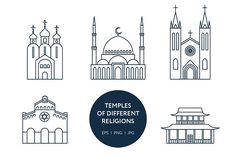 Set of world's religions temples @creativework247
