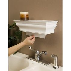 Paper towel dispenser and shelf...smart. I think this is my favorite paper towel dispenser idea!          Paper towel dispenser, great for kitchen, bathroom and over utility sink in laundry room.  Comes in white, black, and brown.  Love it.