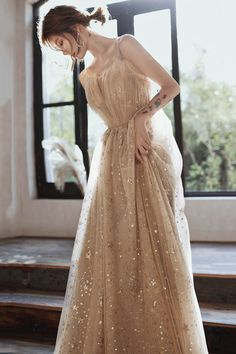 A line tulle sequins long prom dress evening