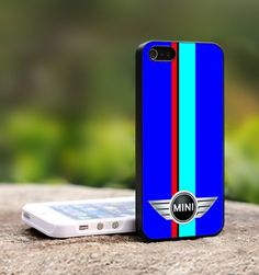 Mini Cooper Blue Sports Red Stripes - For iPhone 4,4S Black Case Cover | TheCustomArt - Accessories on ArtFire