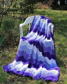 Maggie's Crochet · Purple Mountains Majesty Ripple Afghan Crochet Pattern