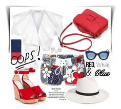 """""""red white and blue"""" by jecakns ❤ liked on Polyvore featuring Temperley London, Dsquared2, Jimmy Choo, Janessa Leone, Le Specs, Allurez, CÉLINE, redwhiteandblue and july4th"""