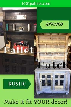 I made this Country-Style Pallet Hutch a functional piece for your kitchen. It has adjustable shelves and storage for large appliances. 1001 Pallets, Recycled Pallets, Wood Pallets, Pallet Benches, Pallet Tables, Pallet Bar, Pallet Sofa, Pallet Hutch, Pallet Cabinet
