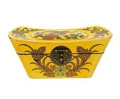 Caja almohada en madera de abeto chino y cuero - amarillo