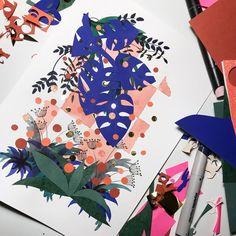 En lille collage mere... #klipperogklistrer #papirklip#ecoline #papercraft#paperlove #planterogblomster #marrakechcolors #blåmonstrea