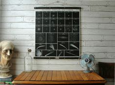 Clusters, Nebulae and Comets School Science Chart / Vintage Pull Down Style Reproduction with Canvas Print and Oak Wood and Brass Hanger