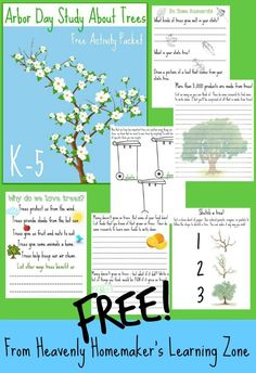 """Arbor Day is right around the corner. I've created free """"Learning About Trees"""" activity packets for your family to enjoy! Library Activities, Fun Activities For Kids, Arbor Tree, Earth Science Lessons, The Giving Tree, Arbour Day, Money Saving Mom, Teaching Tools, Trees To Plant"""