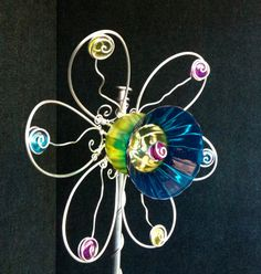 Yard Art, Garden Art, Glass and wire flower from recycled glass, hand colored lime and blue