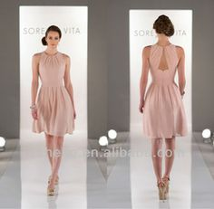 Online Shop Free shipping CW1791 Formal short dresses patterns chiffon peach color bridesmaid dress|Aliexpress Mobile
