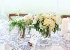 blue and white wedding details