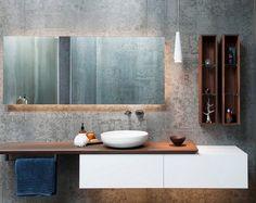 backlit mirror design ideas contemporary bathroom concrete walls modern vanity