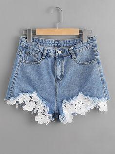 Stagioni Fashion for Women, Denim Shorts for Women. Item: Contrast Lace Frayed Hem Denim Shorts for Women Diy Shorts, Mode Shorts, Crochet Shorts, Ripped Shorts, Short Shorts, Casual Shorts, Ripped Jean Shorts, Cutoffs, Casual Wear